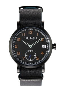 Ted Baker Men's Logan Leather Strap Watch, 38mm