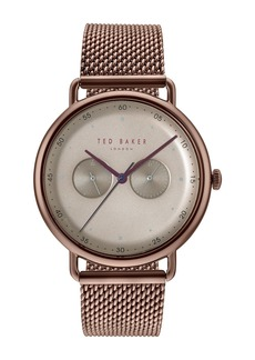 Ted Baker Men's Multifunction Mesh Bracelet Watch, 40mm