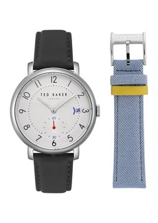 Ted Baker Men's Oscar Leather Strap Watch & Mesh Strap Gift Set, 43mm