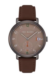 Ted Baker Men's Oscar Leather Strap Watch, 43mm