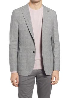 Men's Ted Baker London Bonsai Windowpane Plaid Cotton & Linen Sport Coat