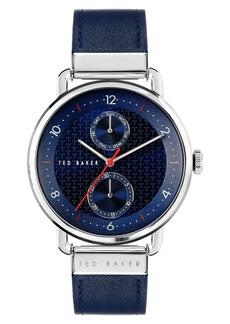 Men's Ted Baker London Brixam Multifunction Leather Strap Watch