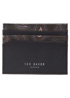 Men's Ted Baker London Cartral Print Leather Card Case - Blue