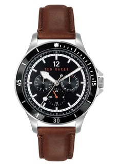 Men's Ted Baker London Northn Leather Strap Watch