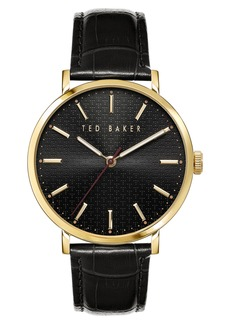 Men's Ted Baker London Phylipa Leather Strap Watch