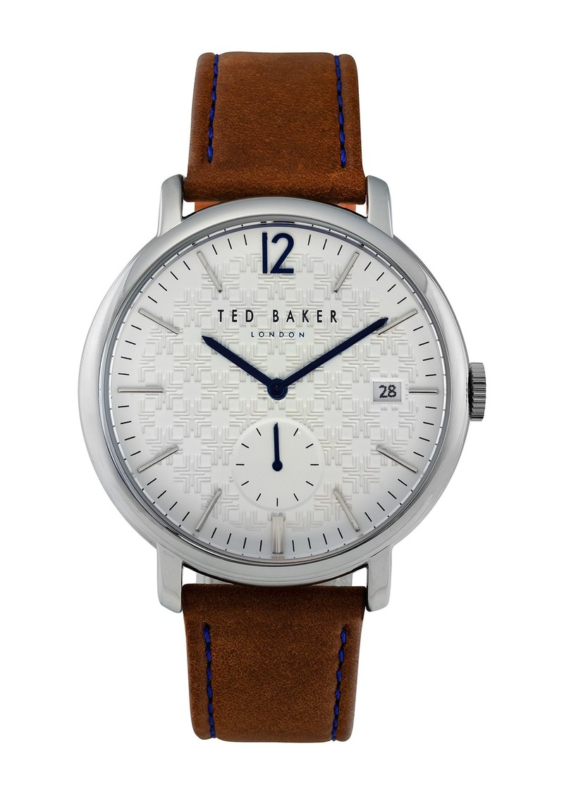 Ted Baker Men's Troy Leather Strap Watch, 43mm