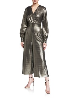 Ted Baker Metallic Long-Sleeve Wide-Leg Wrap Jumpsuit