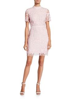 Ted Baker Mock-Neck Short-Sleeve Floral Lace Dress