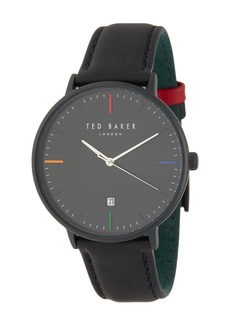 Ted Baker Norton Leather Strap Watch, 42mm