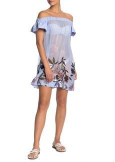 Ted Baker Off-the-Shoulder Floral Cover Up Dress