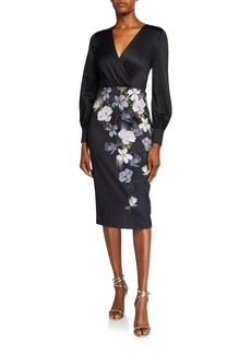 Ted Baker Opal Floral Long-Sleeve Midi Dress