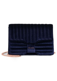 Ted Baker Quilted Velvet Bow Crossbody Bag