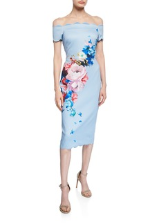 Ted Baker Raspberry Ripple Bardot Floral Off-the-Shoulder Short-Sleeve Scallop Dress
