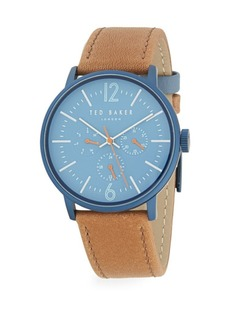 Ted Baker Round Stainless Steel & Leather-Strap Watch