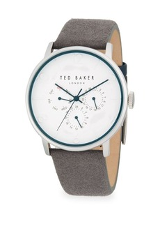 Ted Baker Round Stainless Steel and Leather-Strap Watch