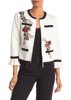Ted Baker Ruffle Cuff Embroidered Jacket