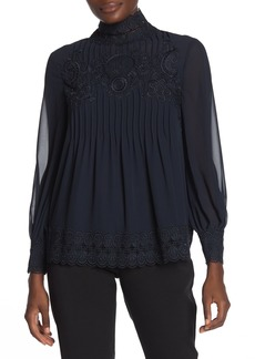 Ted Baker Scalloped Crochet Lace Long Sleeve Blouse