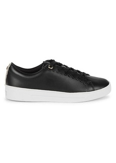 Ted Baker Scalloped-Trim Leather Sneakers