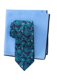 Ted Baker Silk Tonal Botanical Tie & Pocket Square Set