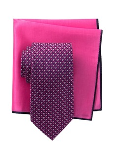 Ted Baker Silk Tonal Geo Tie & Pocket Square Set