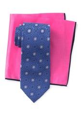 Ted Baker Silk Tonal Medallion Tie & Pocket Square Set