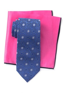 Ted Baker Silk Tonal Medallion Tie & Pocket Square Set