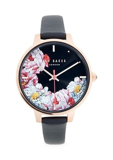 Ted Baker Stainless Steel & & Leather-Strap Floral Watch