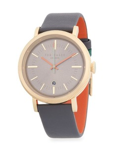Ted Baker Stainless Steel & Leather-Band Watch