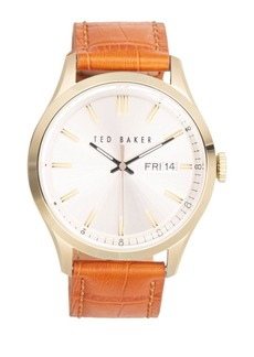 Ted Baker Stainless Steel Brown Leather Strap Watch
