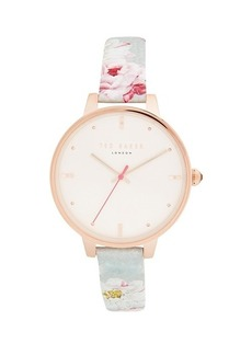 Ted Baker Stainless Steel Floral Leather Strap Watch