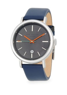 Ted Baker Stainless Steel Quartz Leather Strap Watch