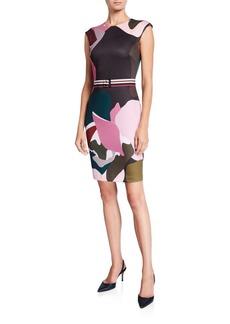 Ted Baker Strawberry Swirl Cap-Sleeve Bodycon Dress