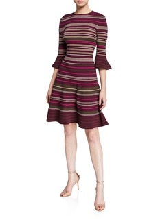 Ted Baker Striped Ottoman Knitted Bell-Sleeve Dress