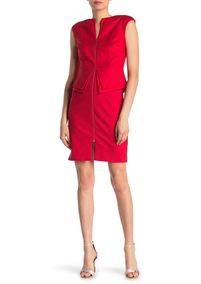 Structured Zip Peplum Dress