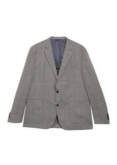 Ted Baker Tan Windowpane Two Button Notch Lapel Wool Suit Separate Blazer