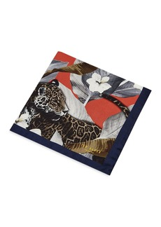 Ted Baker Balloon Tiger & Floral Silk Pocket Square