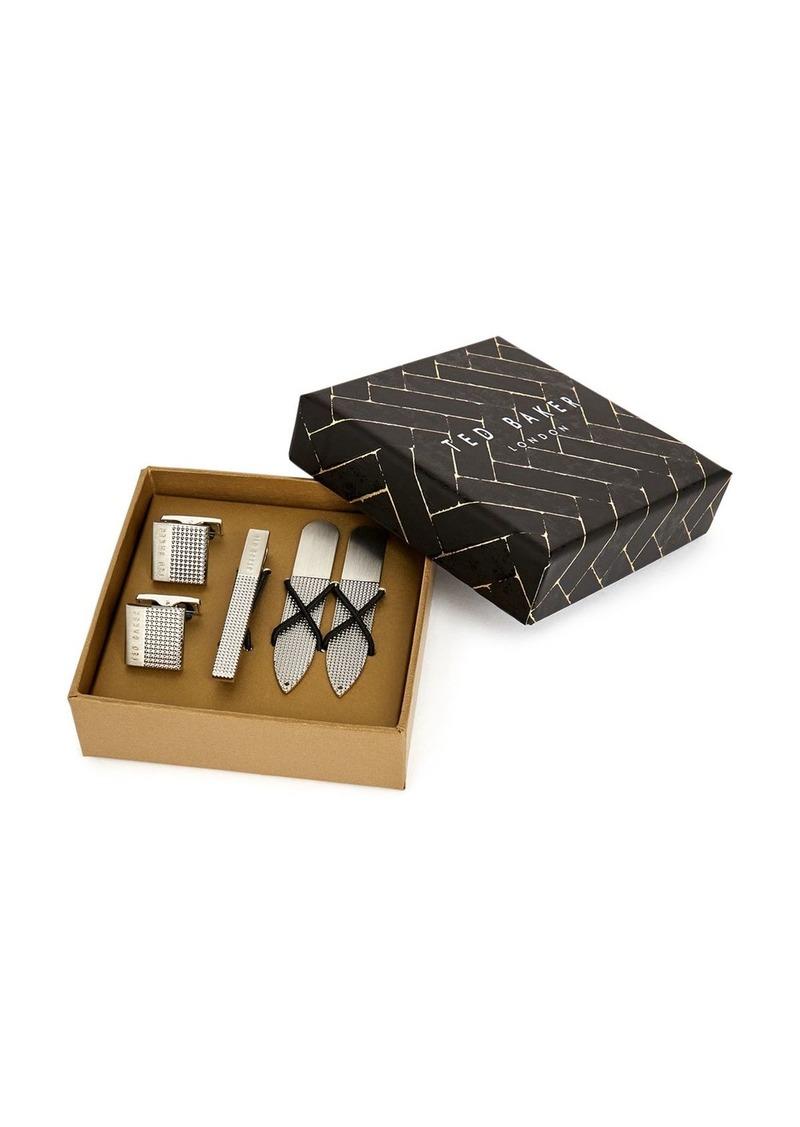 Ted Baker Blinder Cufflink, Tie Bar & Collar Stay Gift Set