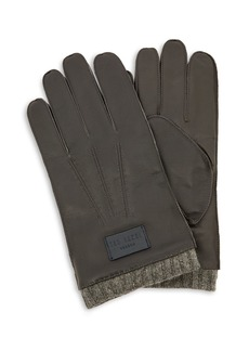 Ted Baker Blokey Knit-Cuff Leather Gloves
