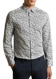 Ted Baker Charity Cotton Floral Print Slim Fit Shirt