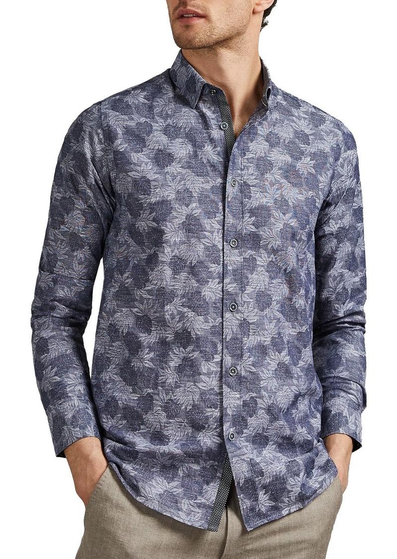 Ted Baker Charlez Palm Jacquard Slim Fit Shirt