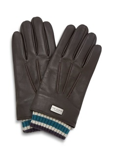 Ted Baker Conver Ribbed-Cuff Leather Gloves