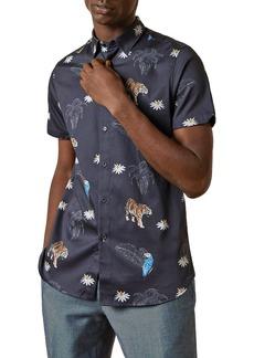 Ted Baker Cotton-Blend Animal Print Slim Fit Sports Shirt