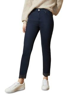 Ted Baker Daner Studded Hem Skinny Jeans in Dark Blue