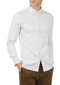 Ted Baker Floral Print Regular Fit Button-Down Textured Shirt