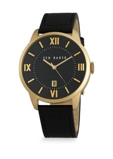 Ted Baker Goldtone Stainless Steel & Leather Analog Watch