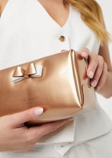 Ted Baker Halsey bow make-up bag in rose gold