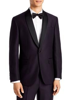 Ted Baker Josh Dark Purple Textured Solid Regular Fit Tuxedo Jacket