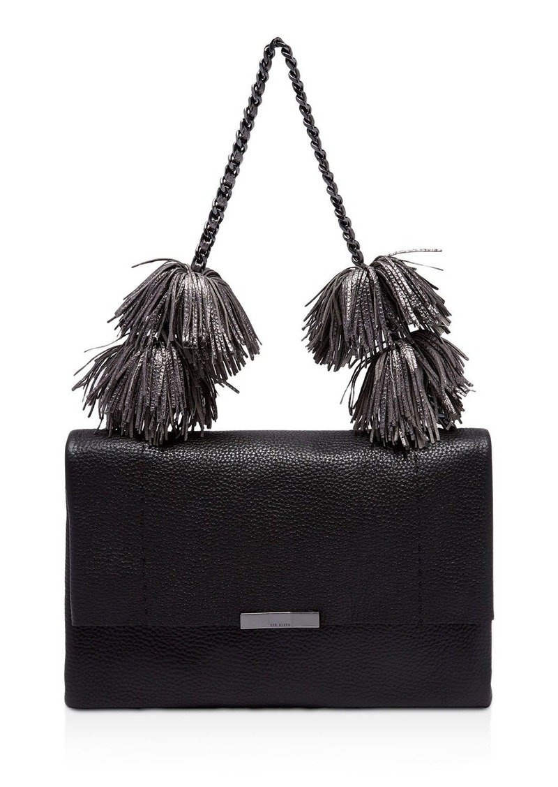 Ted Baker Leather Pom-Pom Shoulder Bag