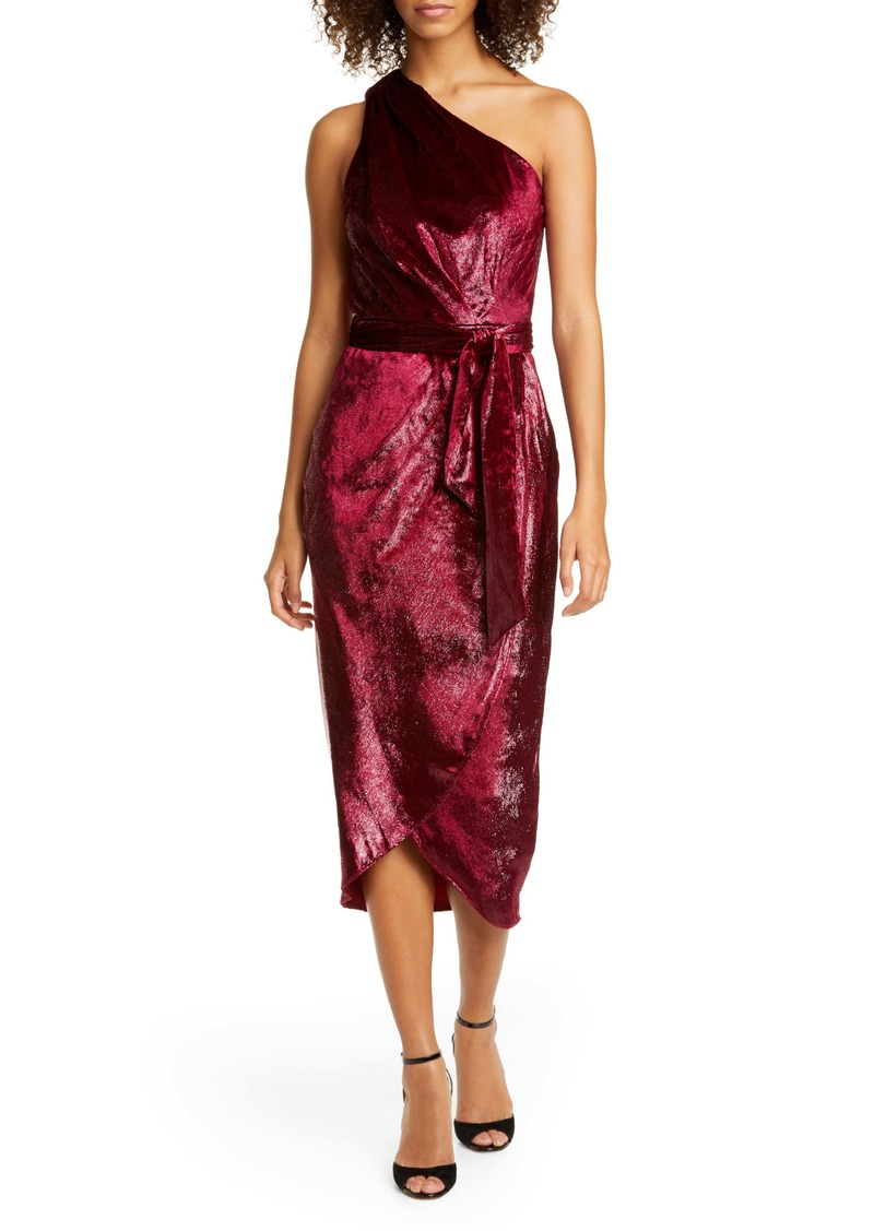 Ted Baker London Abinaa One-Shoulder Drape Midi Dress