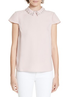 Ted Baker London Alyanaa Embellished Collar Top